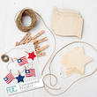 Unfinished Wood Flag and Star Cutout Garland Kit