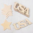Unfinished Wood USA and Flag Cutout Set