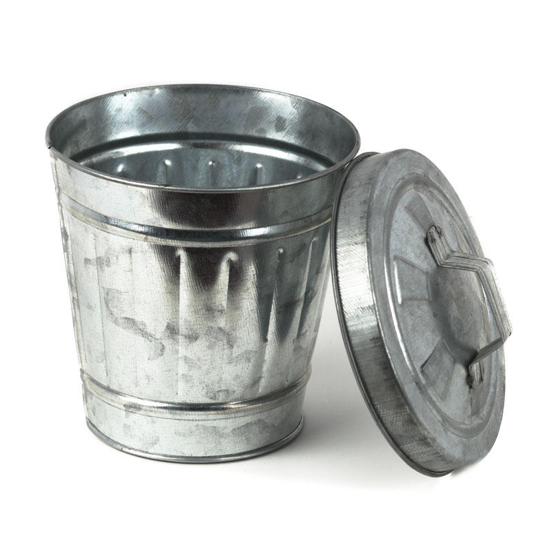 Galvanized Metal Trash Can Decorative Containers