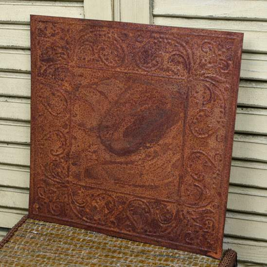 Vintage Inspired Rusty Tin Scroll Embossed Ceiling Tile