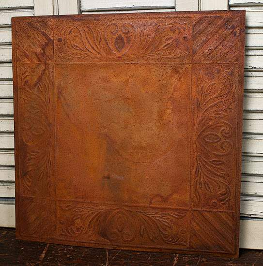 Vintage Inspired Acacia And Stripes Rusty Tin Ceiling Tile