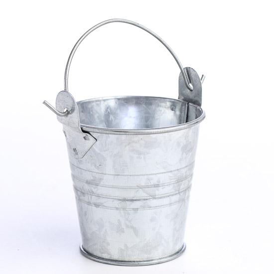 Galvanized metal pail bucket miniatures view all for Galvanized metal buckets small