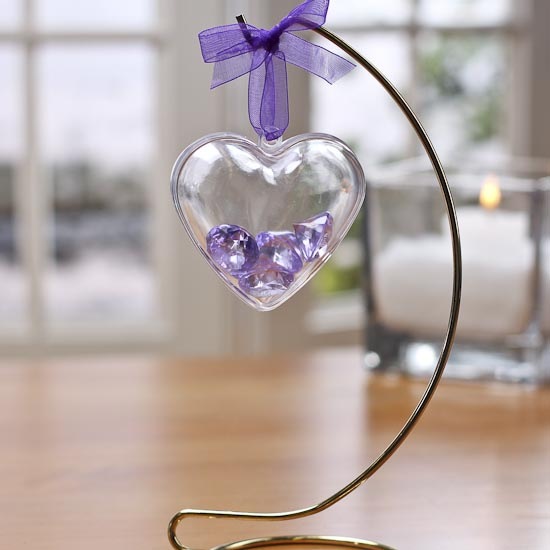 60mm clear acrylic fillable heart ornament