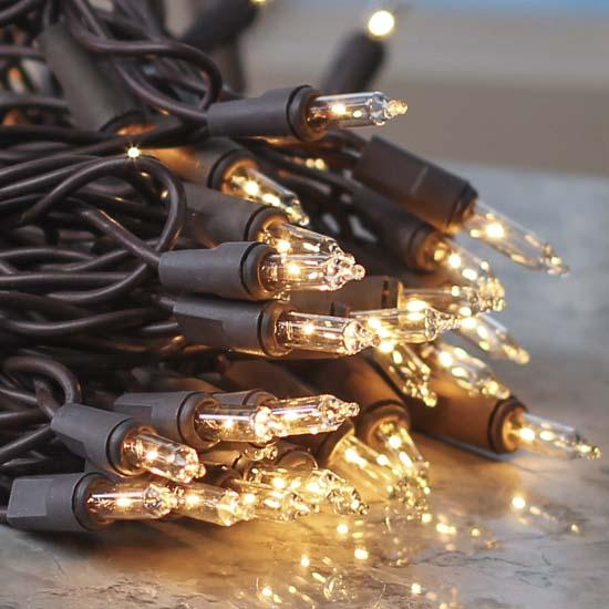 Clear Bulb and Brown Cord String Lights - Lighting - Christmas and Winter - Holiday Crafts