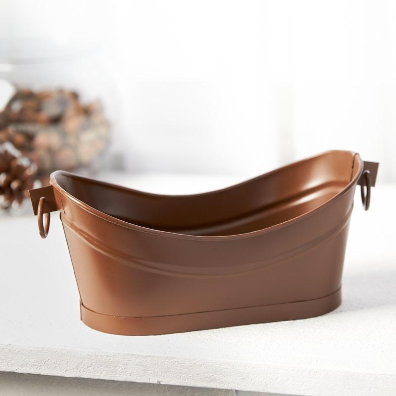 Rustic Tin Finish Metal Tub