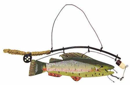 wooden fish with fishing pole wood ornament - signs & ornaments, Fishing Rod