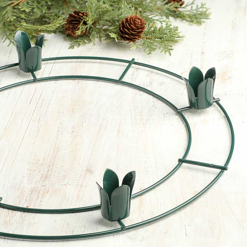 Heavy Green Wire Advent Wreath Form Floral Design