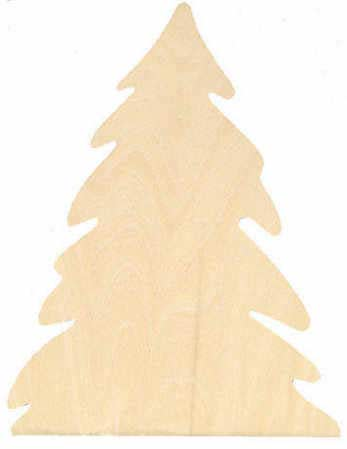 Unfinished wood pine tree cutout winter holiday cutouts for Wooden christmas cutouts