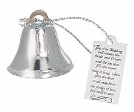 Silver Metal Wedding Bells with Poem Pkg of 24 Bells and Bubbles