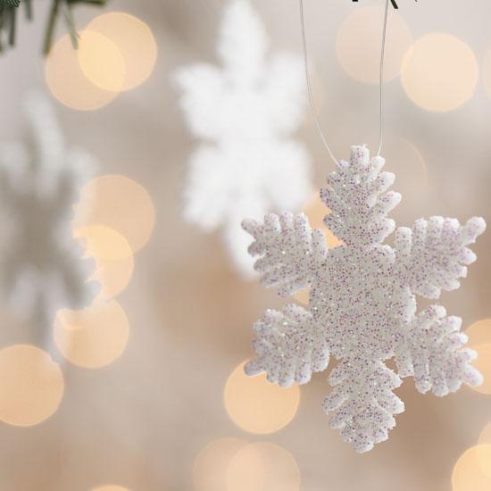 2 Quot White Glitter Snowflake Ornaments Christmas Ornaments