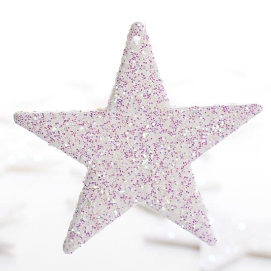 """2"""" Small White Iridescent Glitter Star Ornaments"""