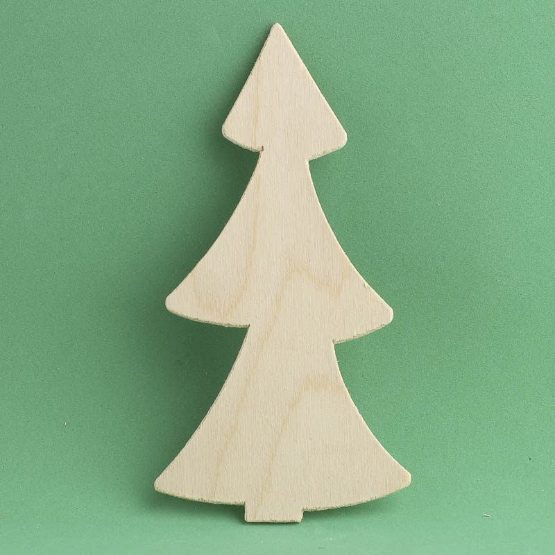 Unfinished wood tree cutout winter holiday cutouts for Wooden christmas cutouts