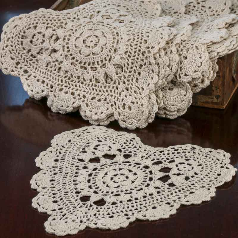 Crochet Doilies : Ecru Heart Crocheted Doilies - Crochet and Lace Doilies - Home Decor
