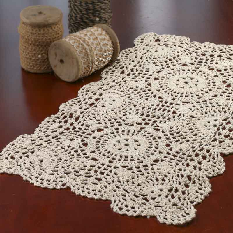 Crochet Doilies : Ecru Oblong Crocheted Doily - Crochet and Lace Doilies - Home Decor