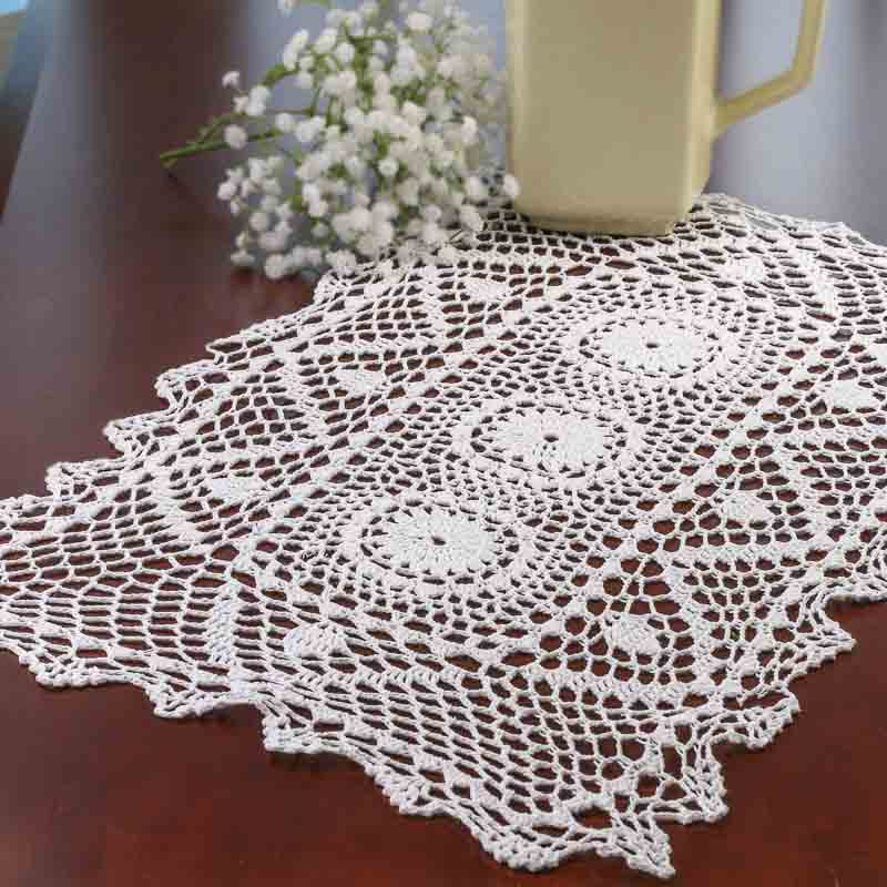 White Crocheted Doily Table Runner Crochet And Lace