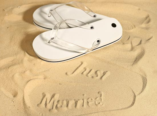 small white bride just married flip flops beach and. Black Bedroom Furniture Sets. Home Design Ideas