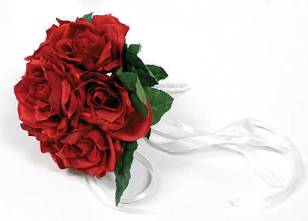Premade Silk Red Rose Throw Away Toss Wedding Bouquet Bridal Bouquets