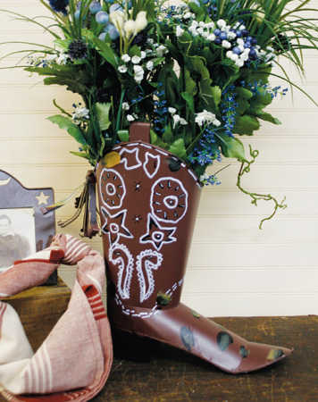 Rustic Tin Metal Cowboy Boot Centerpiece Western Theme Party