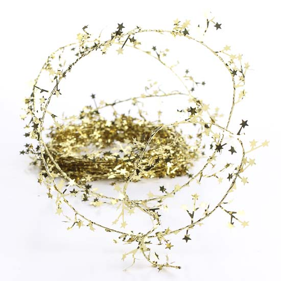 Gold wired star tinsel garland christmas garlands