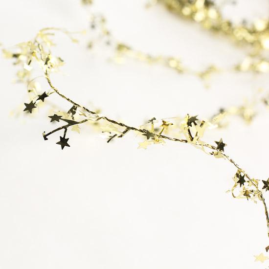 Gold wired star tinsel garland christmas garlands