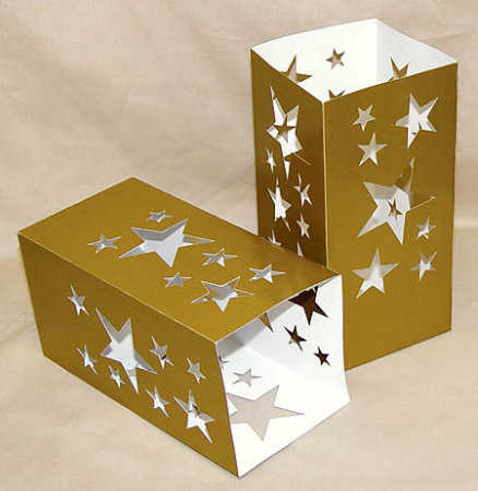 gold cardboard paper luminary package of 8 candles and