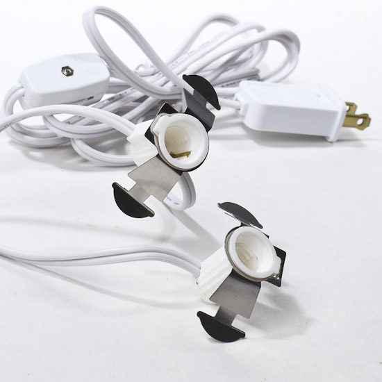 White Electric Cord Set with 2 Sockets