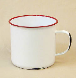 Reproduction enamelware 4 1 2 red rim coffee mug floral for Coffee mug craft kit