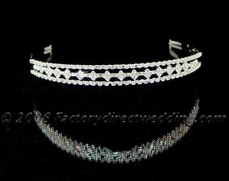 silver and rhinestone headband tiara hair accessories