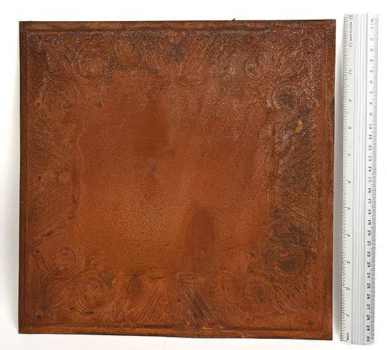 Vintage Rusty Tin Gothic Scroll Ceiling Tile