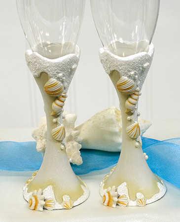 Seashell Toasting Glasses Beach Theme Wedding Themes Wedding