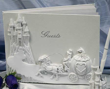 Cinderella Carriage and Castle Wedding Guest Registry Book Cinderella