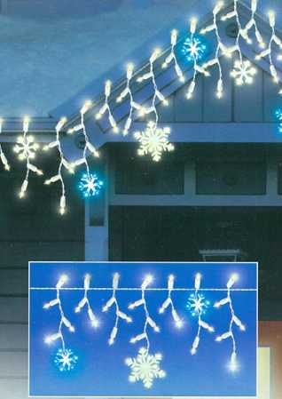 Click Here For A Larger View - Electric Snowflake Icicle Random Twinkle Light Set - Lighting