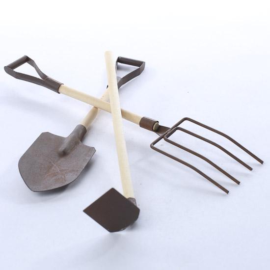 Rusty Tin Garden Tools Doll Accessories Doll Making Supplies Craft Supplies