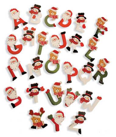 Christmas Alphabet.1 1 2 Painted Wooden Christmas Alphabet Letters 104pcs