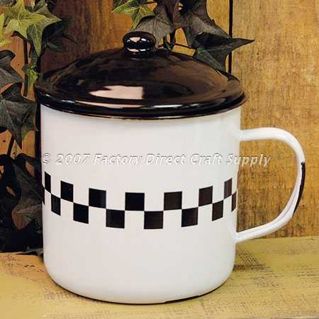 White checkered design reproduction enamelware mug with for Design reproduktion