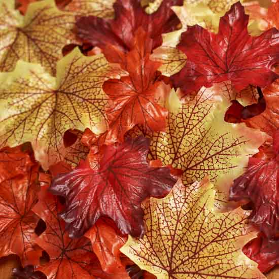 Factory Direct Craft Set of 2 Deep Fall Artificial Maple Leaf Bush for Autumn Home Decor and Fall Flower Arrangements