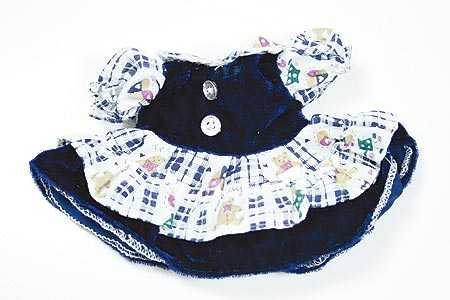 Small Navy Blue Velvet Dress With Teddy Bear Pattern Doll