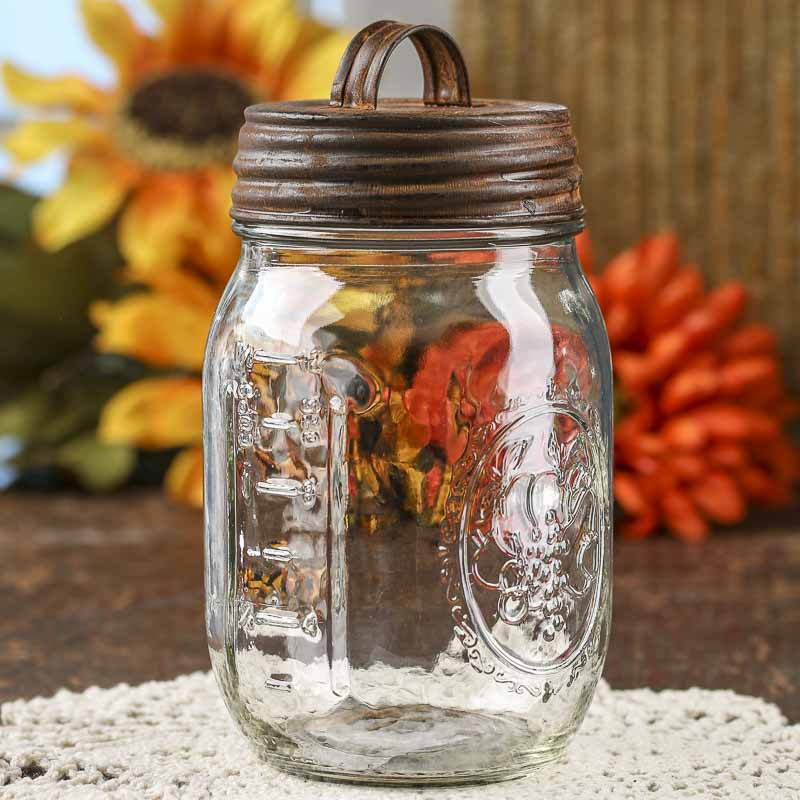 Harvest Collection Glass Pint Jar With Rusty Lid Jars