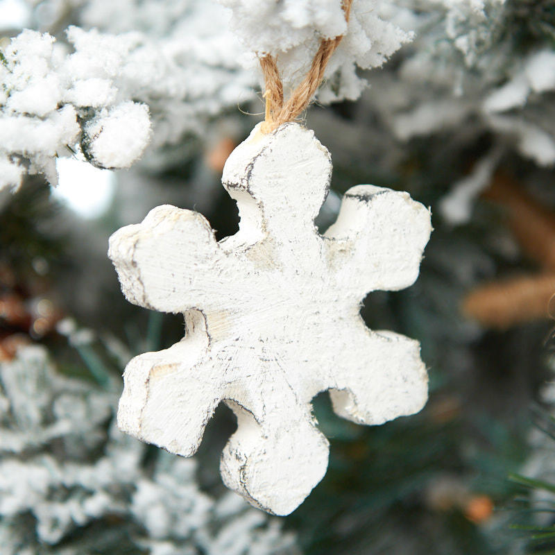 Wooden Rustic Snowflake Ornament