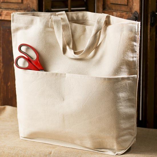 Natural Canvas Pocket Tote Bag Bags Basic Craft Supplies Craft