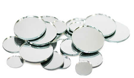 Assorted round mosaic tile mirrors mirrors party for Small round craft mirrors