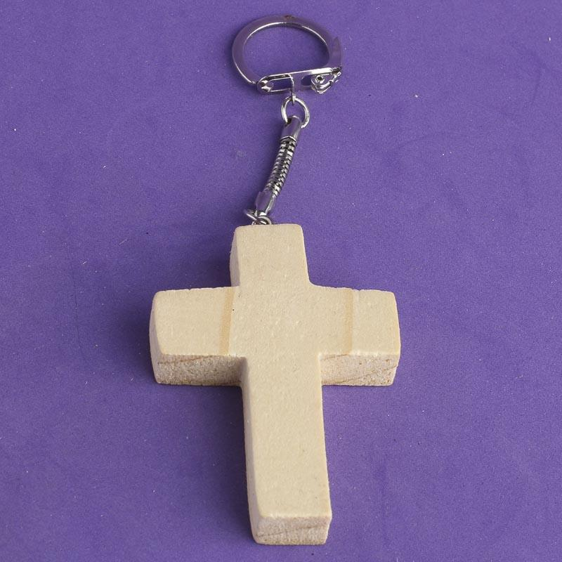 Unfinished Wood Cross Keychain
