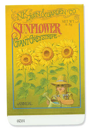 Sunflower Seeds Nutrition Facts. Pre-printed seed packet print
