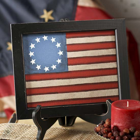 Framed Painted Canvas Americana Old Glory Flag Americana