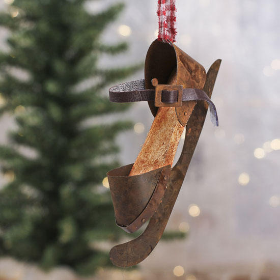 Vintage Inspired Rusty Ice Skate Ornament Wall Art