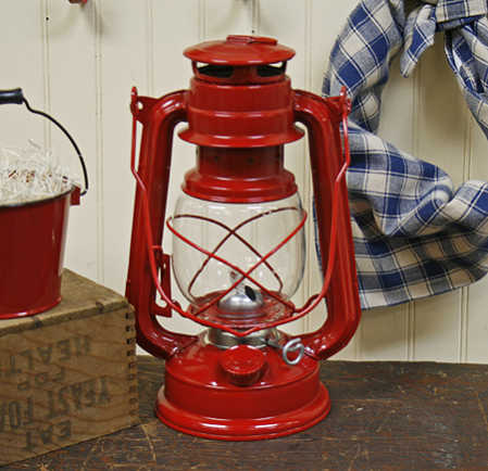 Red Metal Railroad Lantern Lighting Primitive Decor
