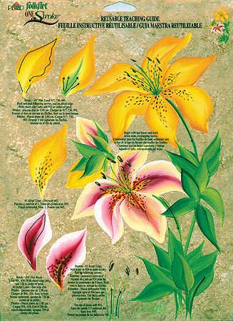 Folkart One Stroke Reusable Teaching Guide Lilies