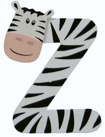"... Painted Alphabet Letter ""Z"" Animal - Scrapbooking - Craft Supplies"