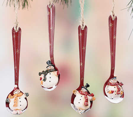 Primitive Resin Snowman Spoon Ornament - Christmas Ornaments ...