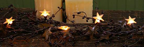 Primitive Christmas String Lights : Primitive Electric Lights with 10 Mini Silicone Stars - Lighting - Christmas and Winter ...